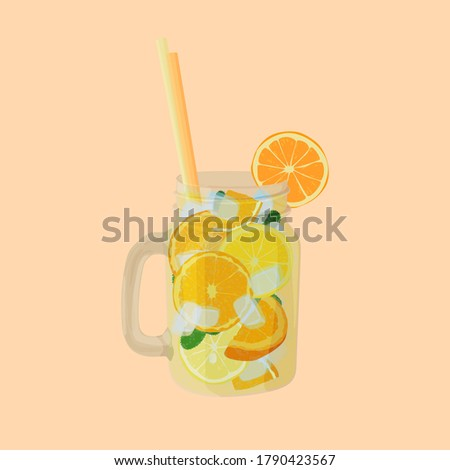 lemonade with ice cubes in a