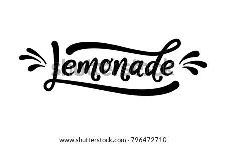 Lemonade word lettering. Black text on white background. Summer fresh drink. Modern calligraphy. Vector illustration.