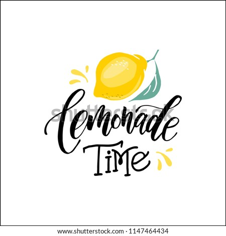 Lemonade word lettering. Modern calligraphy. Vector illustration. Hand written logos, labels, element for natural products,poster, card, quote, print, packaging, badges