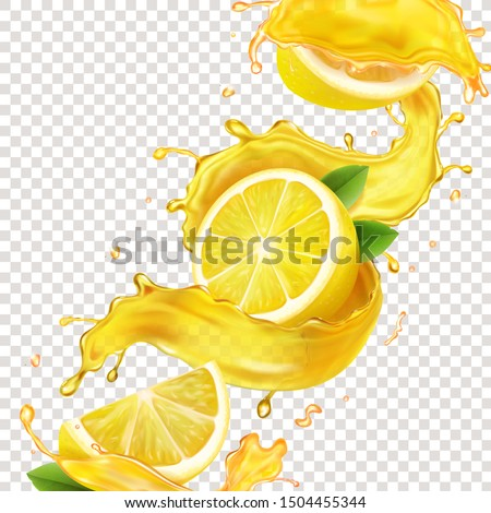 lemons in yellow juice splashes