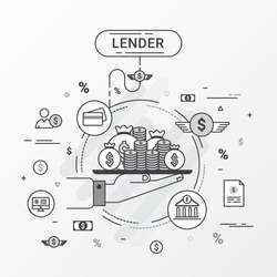 Lender Info graphics design concept. Loan lending of money from bank, personal loans, credit card, organization or entity. Vector illustration. Flat line design gray color tone.