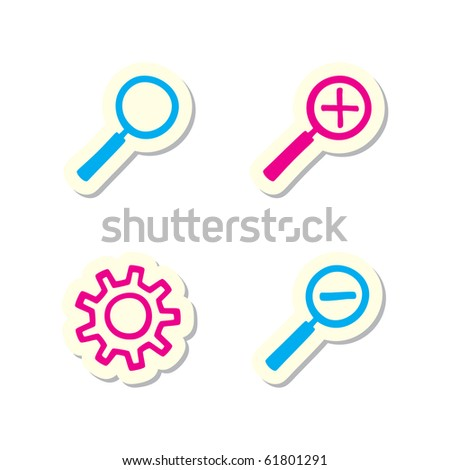 Lens and Gear Icons - stock vector
