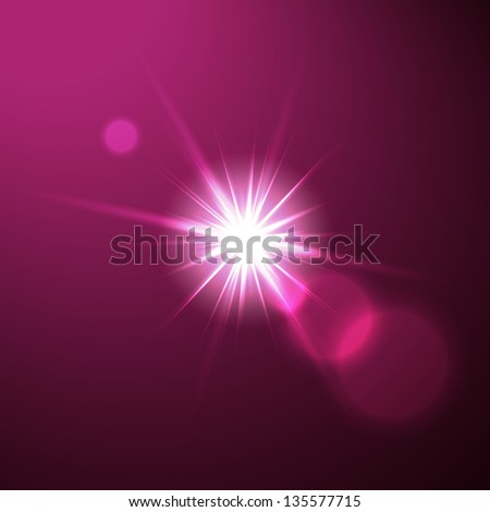 Lens flare illustration on blue bacgkround with lighted stage