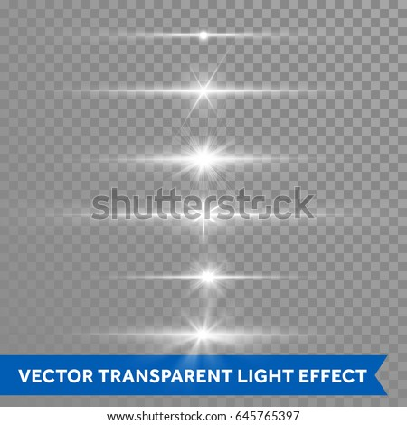 Lens flare light shine or starlight effect on transparent background. Vector isolated icons set of twinkling stars with bright star or glittering sun beams and ray lines flash