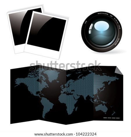 Lens, photo and world map.