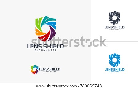 Lens Shield Logo designs vector, Photography Shield logo template
