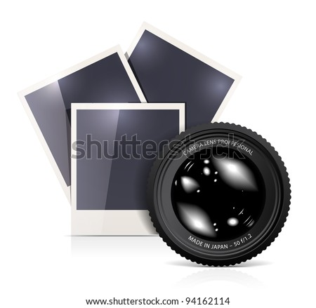 Lens with photo frame on white background
