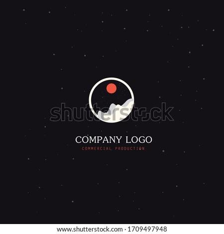 lense logo design. raise logo . circle view . space moon stars