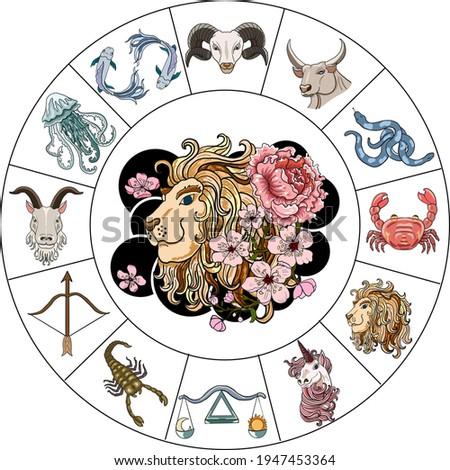 Leo and flower of Astrology design.horoscope circle with signs of zodiac set vector.signs such as a aries, taurus, gemini, cancer, leo, virgo, libra, scorpio, sagittarius, capricorn,aquarius, pisces.