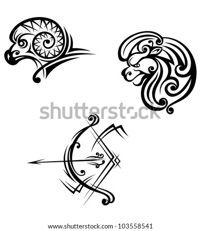 Leo, aries and sagittarius symbols in tribal style. Vector ...