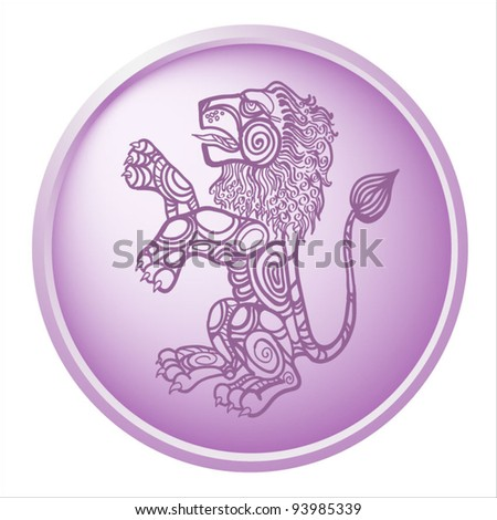 leo, button with sign of the zodiac