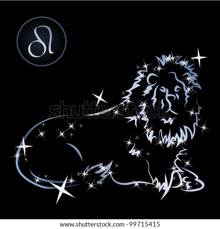 Leo/Lovely zodiac signs formed by stars on black background