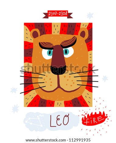 leo. zodiac vector drawing