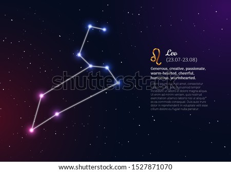 Leo zodiacal constellation with bright stars. Leo star sign and dates of birth on deep space background. Astrology horoscope prediction with unique positive personality traits vector illustration