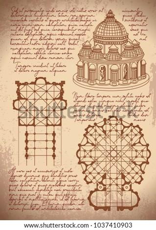 Leonardo da Vinci architecture. Leonardo da Vinci basilica sketch. Vintage paper background with drawings.