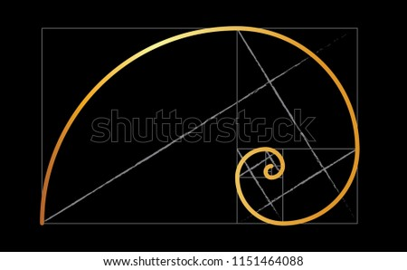 Leonardo da Vinci day. Golden ratio template spiral. Fun vector Circles in golden proportion icon or sign. Gometric or symmetry spiral logo. Drawing physics or math formula code grid Divine Proportion