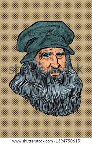Leonardo da Vinci, Italian painter, inventor and sculptor. Comic cartoon pop art retro drawing illustration