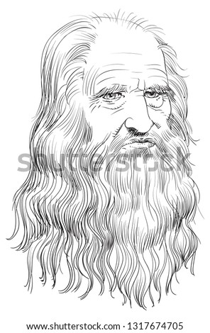 "Leonardo Da Vinci (1452-1519) portrait in line art illustration. He was a painter, sculptor, architect, inventor, military engineer and draftsman — the epitome of a ""Renaissance man."""