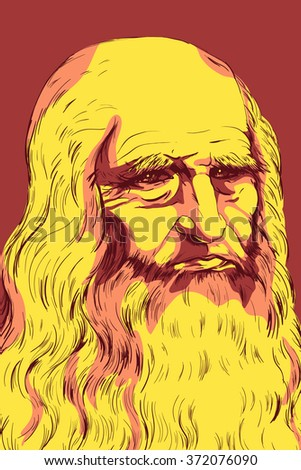 Leonardo da Vinci Self-Portrait, 1512. Colorful vector illustration.