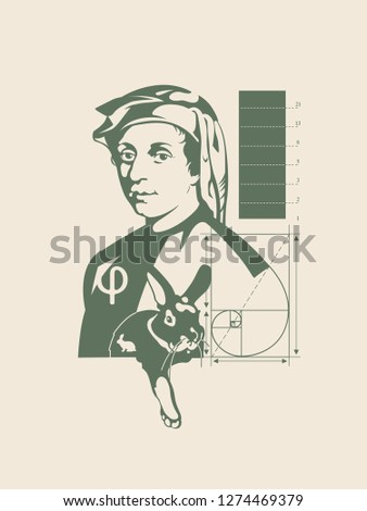Leonardo Fibonacci. A treatise on the rabbits. Abacus ' book. Puzzle. Sequence of numbers.