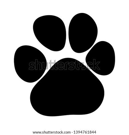 Leopard Footprint. Black Silhouette Design. Vector Illustration.
