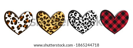 Leopard Heart. Hearts with buffalo plaid and wild animal skin background. Valentines Hearts, Plaid Heart, Leopard Heart for t-shirt. Happy Valentines Day.