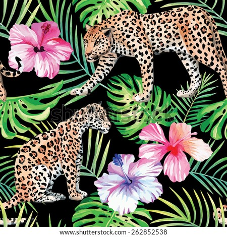leopard  hibiscus and palm