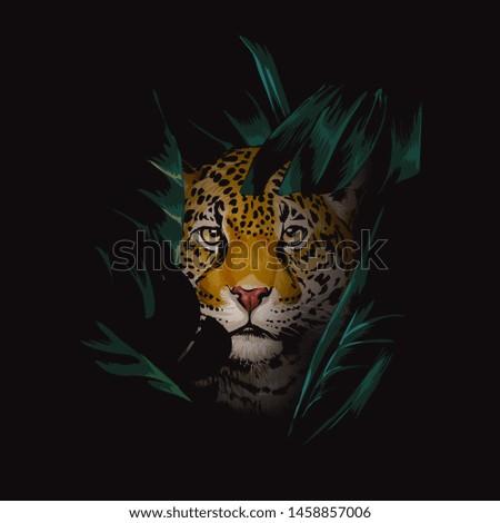 leopard hidden in tropical jungle illustration