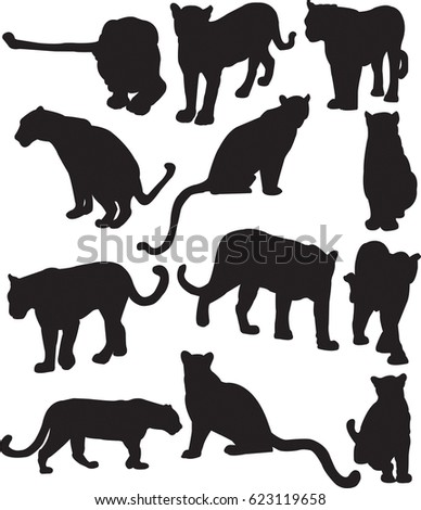 leopard or panther silhouette contour ez canvas
