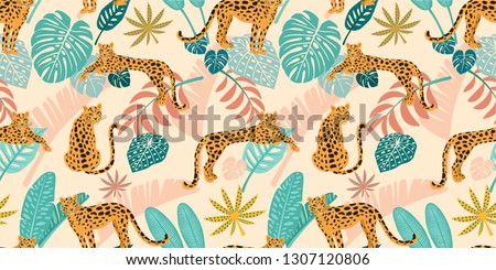 leopard pattern with tropical