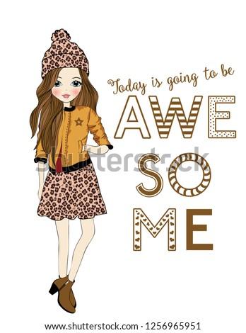leopard-patterned girl ,fashion girl, T-shirt graphics for kids vector illustration