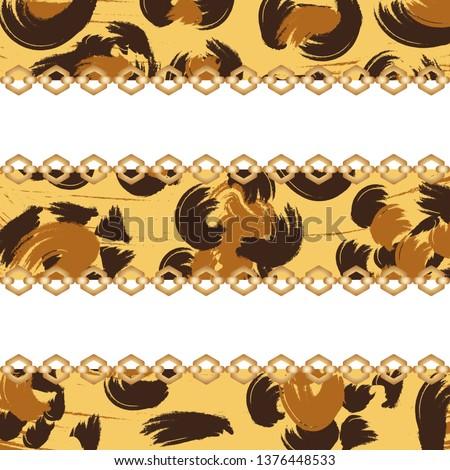 Leopard print. Leopard skin pattern with chain. Luxury gold background. Trendy art background. Fabric texture. Animal skin pattern.
