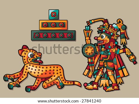 Leopard, pyramid and Indian man