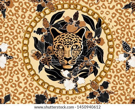 leopard's head surrounded by