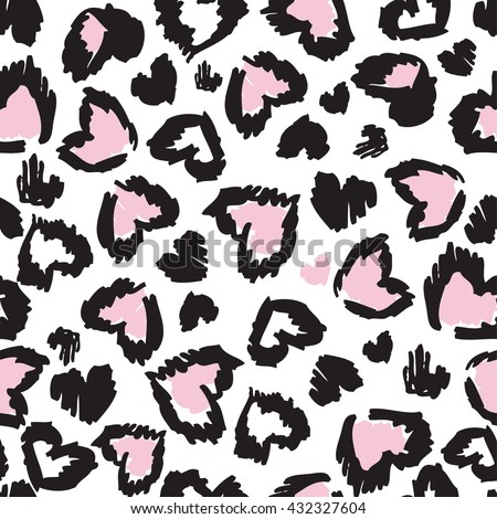 Leopard seamless heart pattern design, vector illustration background