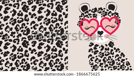Leopard seamless pattern. Cute cartoon leopard in glasses. Set prints for kids clothes. Foto stock ©