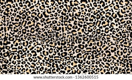 Leopard skin pattern. Wildlife abstract design. Vector print for fabrics and clothes. Black spots on the leopard fur. Trendy fashion seamless pattern. Camouflage predator skin texture imitation.