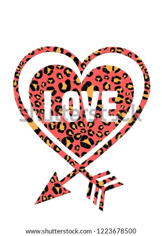 leopard slogan heart colorful