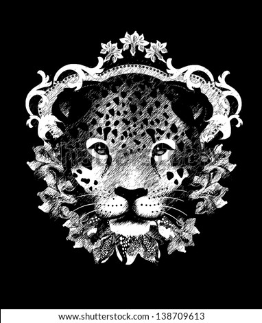 Leopard T shirt design All elements are editable