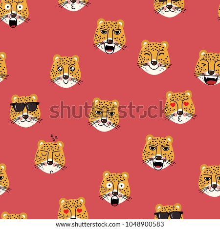 Leopard tiger character seamless pattern and background.