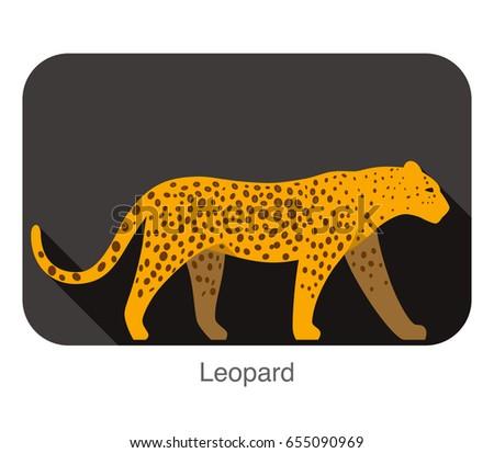 leopard walking side flat 3d