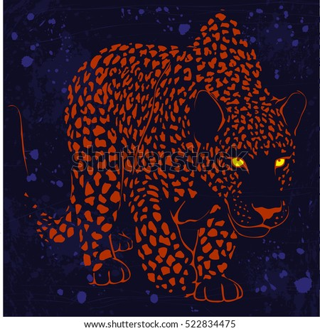 leopard wild cat with glowing