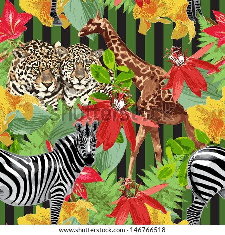 leopard zebra giraffe and flowers