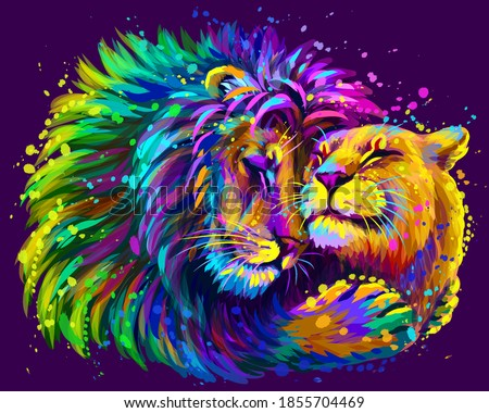 Leos. A lion embraces a lioness. Color, digital portrait of lions in the style of pop art on a purple background. Digital vector graphics. Separate layer