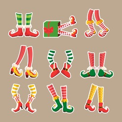Leprechaun feet set. Shoes for elves feet, feet of gnomes-assistants of Santa Claus in a set of pants. Shoes, funny striped socks and boots. Vector illustration