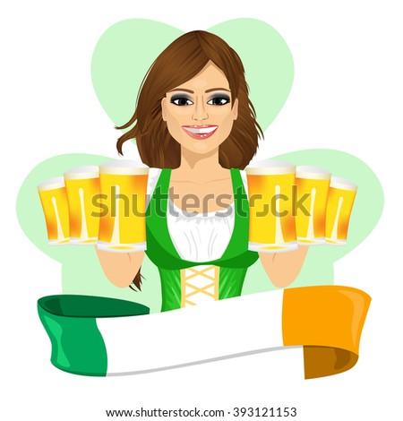 leprechaun girl with beer mugs
