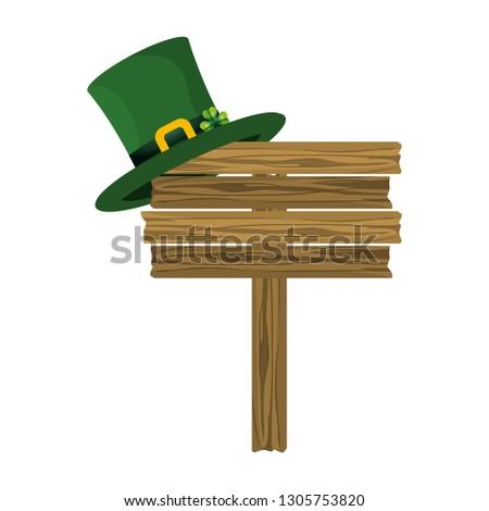 leprechaun hat wooden road sign