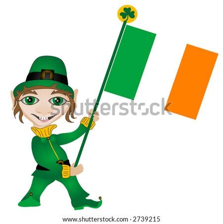Leprechaun holding an Irish Flag over a white background. Vector Illustration,