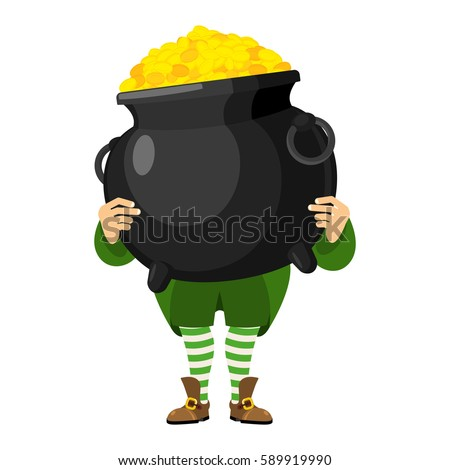 leprechaun holding pot of gold