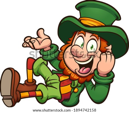Leprechaun lying down cartoon. Vector clip art illustration with simple gradients. All on a single layer.